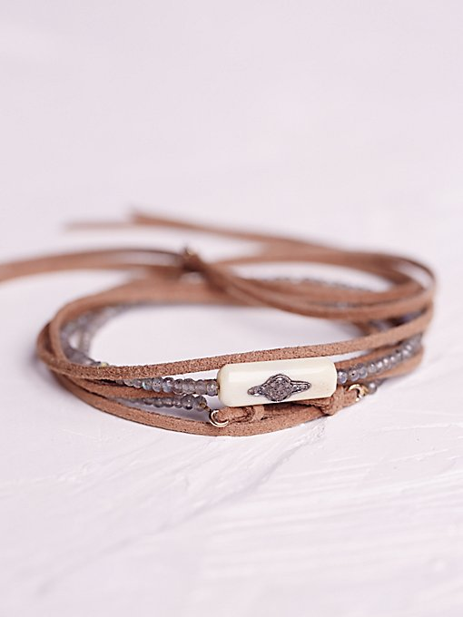 Product Image: Suede and Pave Diamond Wrap Bracelet