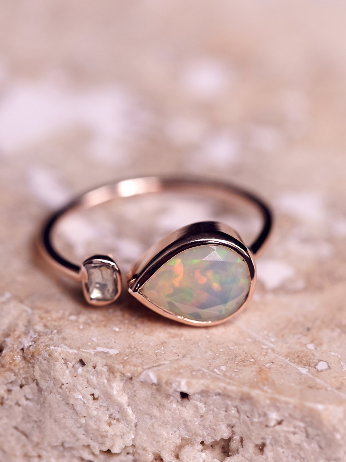 Opal x Rose Cut Diamond Ring