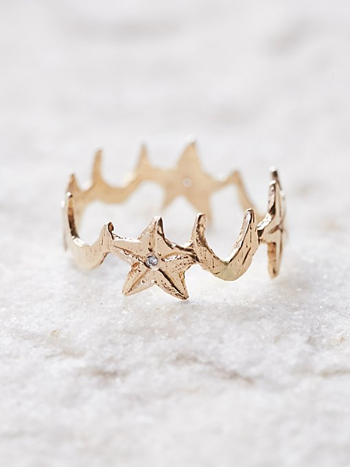 Product Image: 14K Diamond Star + Moon Band