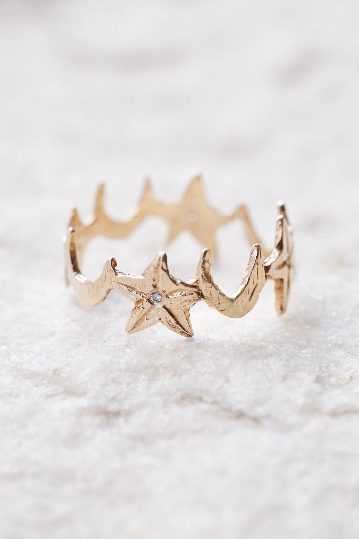 14K黄金镶钻星月指环