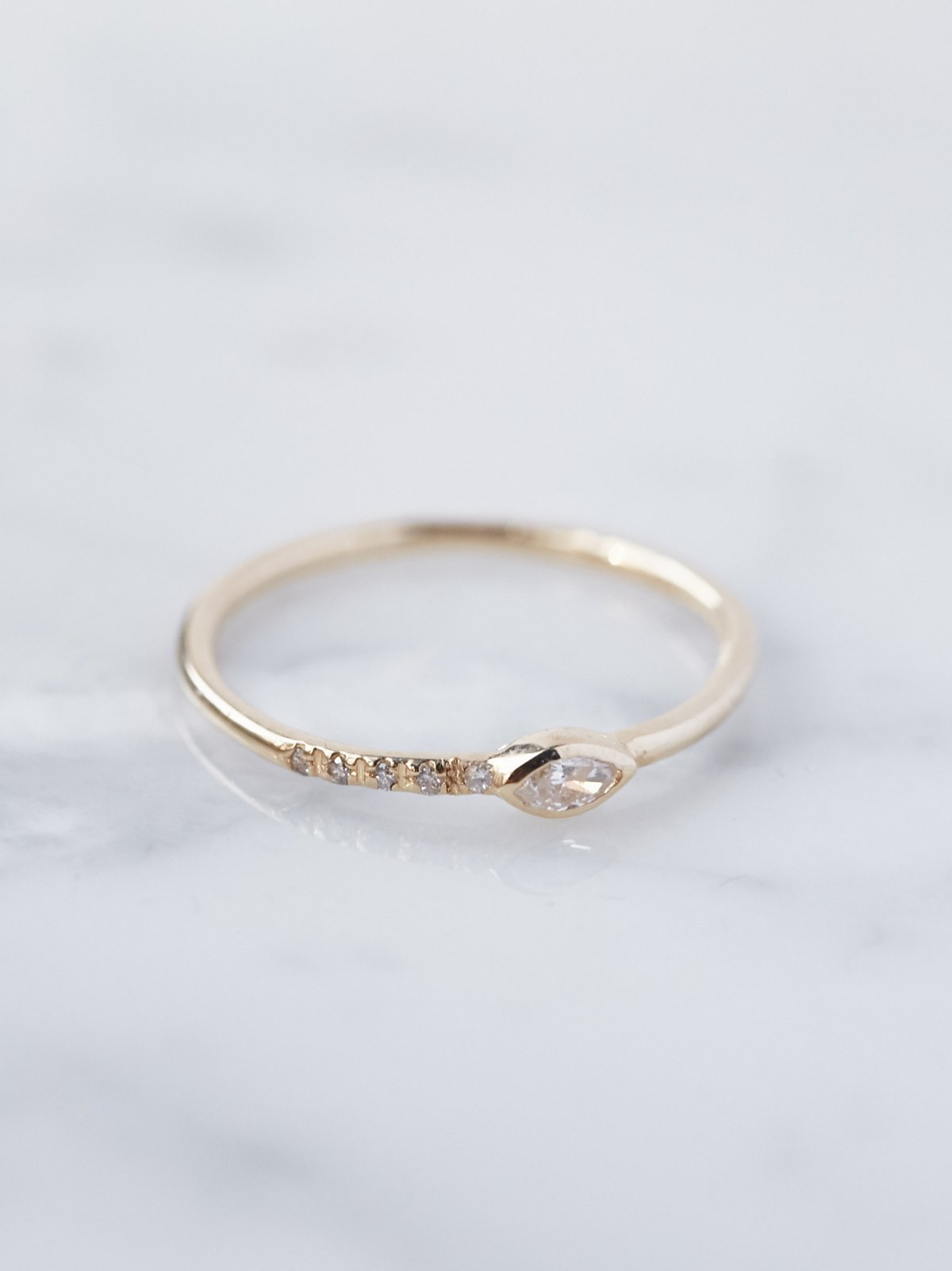14K Gold Diamond Gravity Ring
