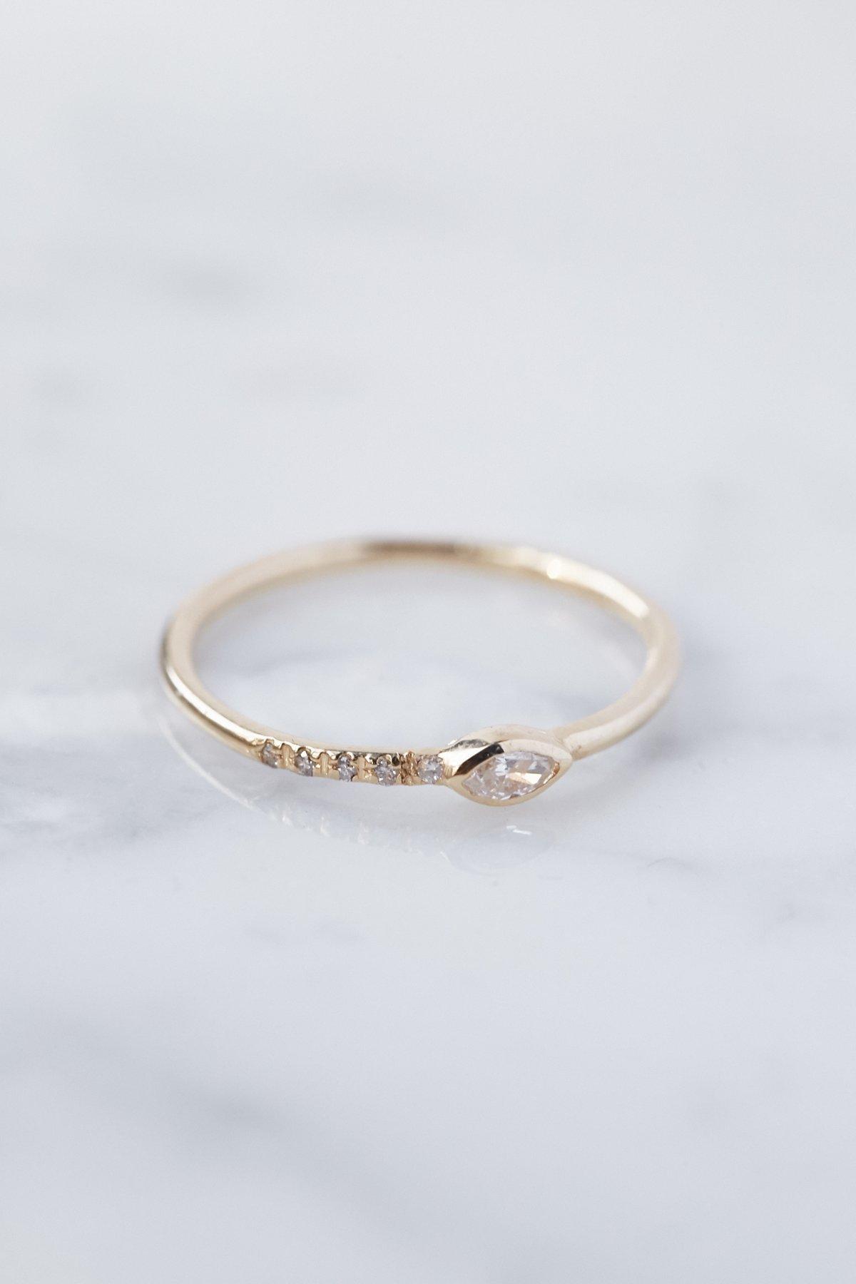 14K Gold Diamond Gravity Ring