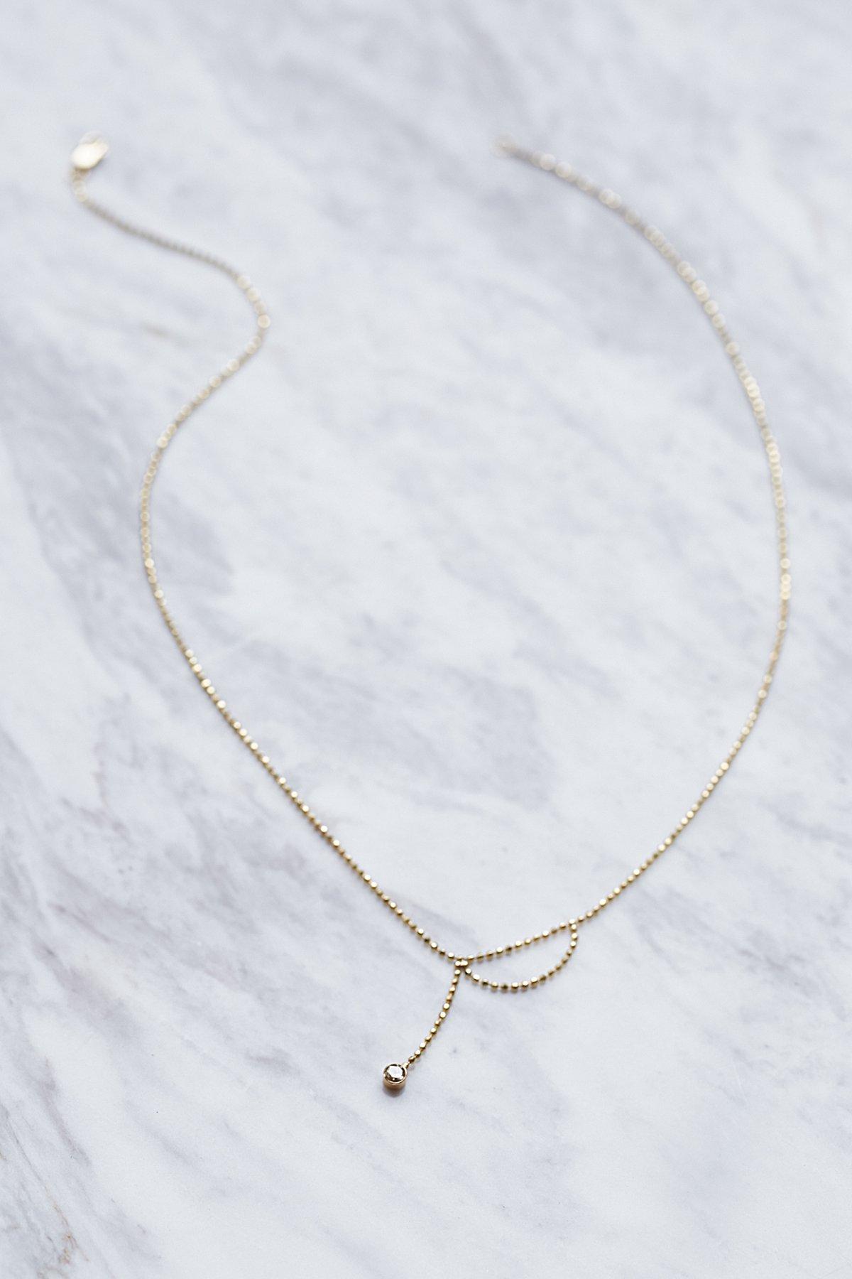 14k Ball Chain Diamond Necklace