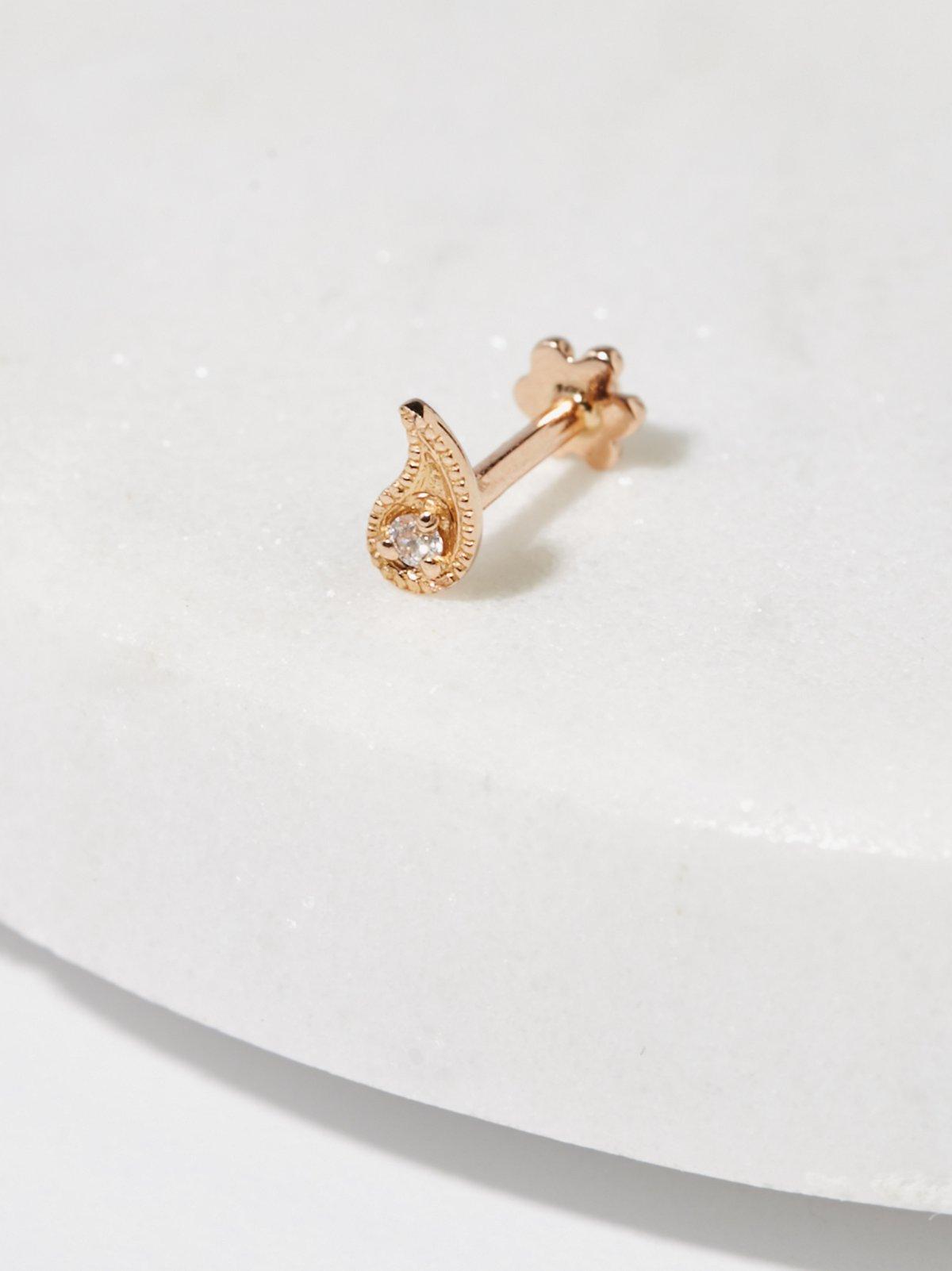 钻石佩斯利漩涡螺纹耳钉