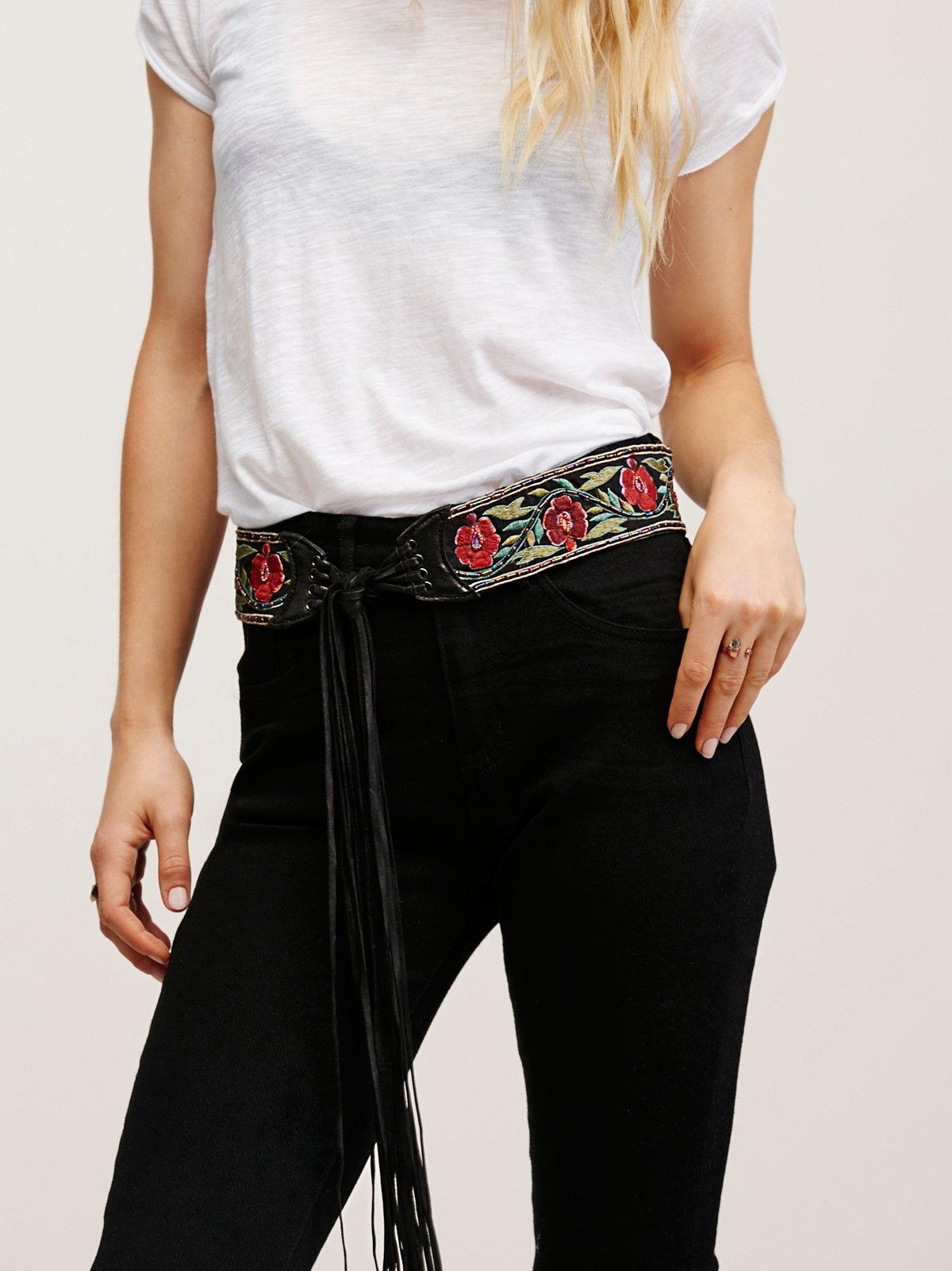 Wild Rose Embroidered Belt