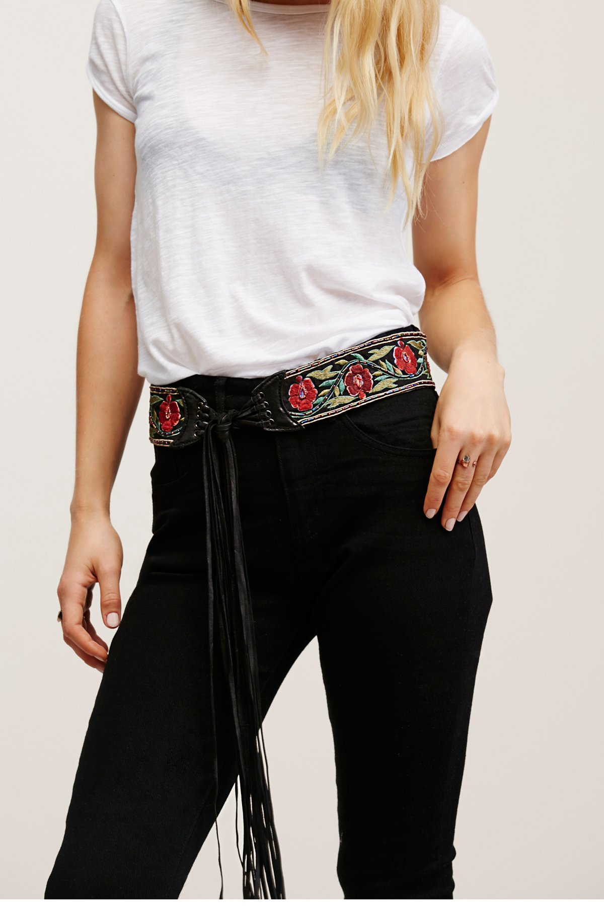 Wild Rose Embroidered Belt