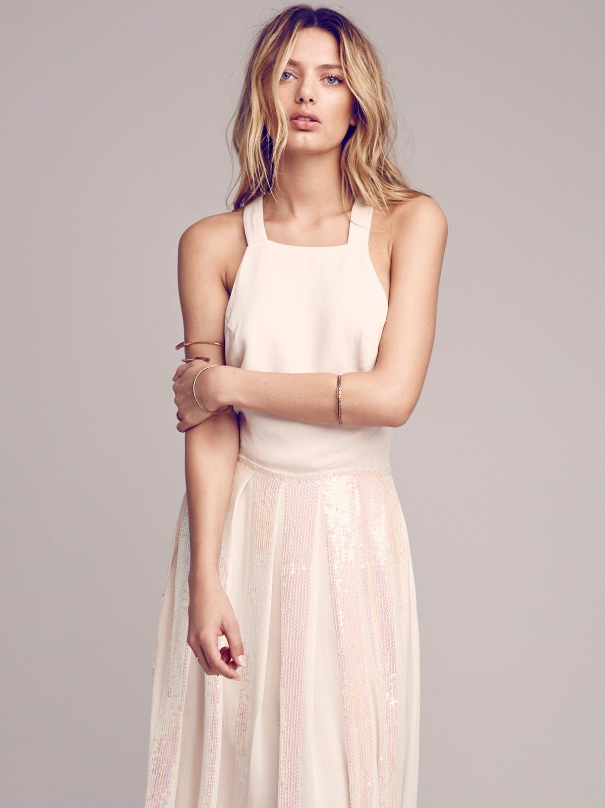 Sequin Pleat Apron Dress