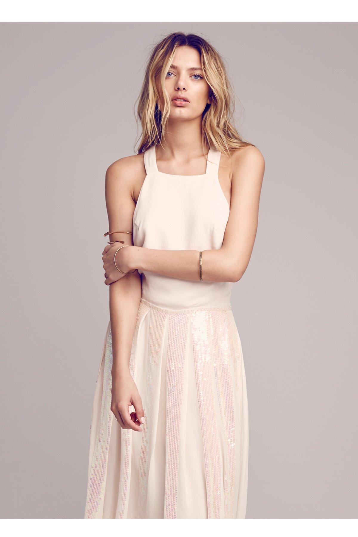 亮片褶饰围裙式连衣裙