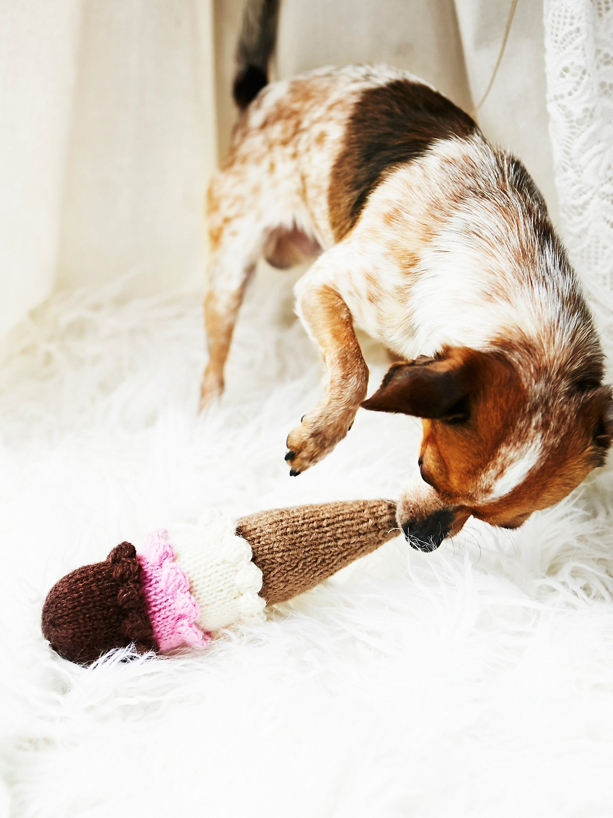 Hand Knit Ice Cream Dog Toy