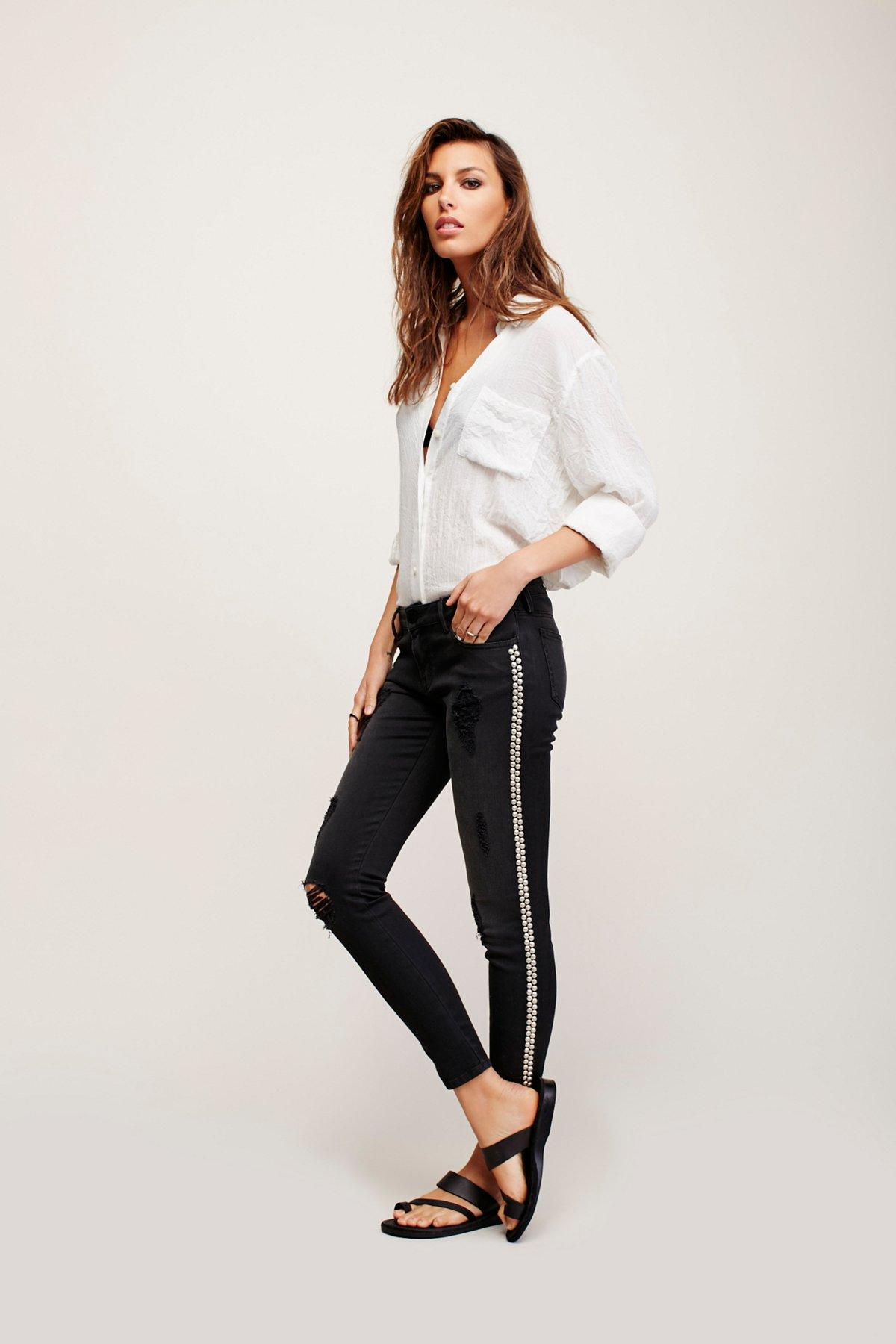 Black Studded Skinny Jeans