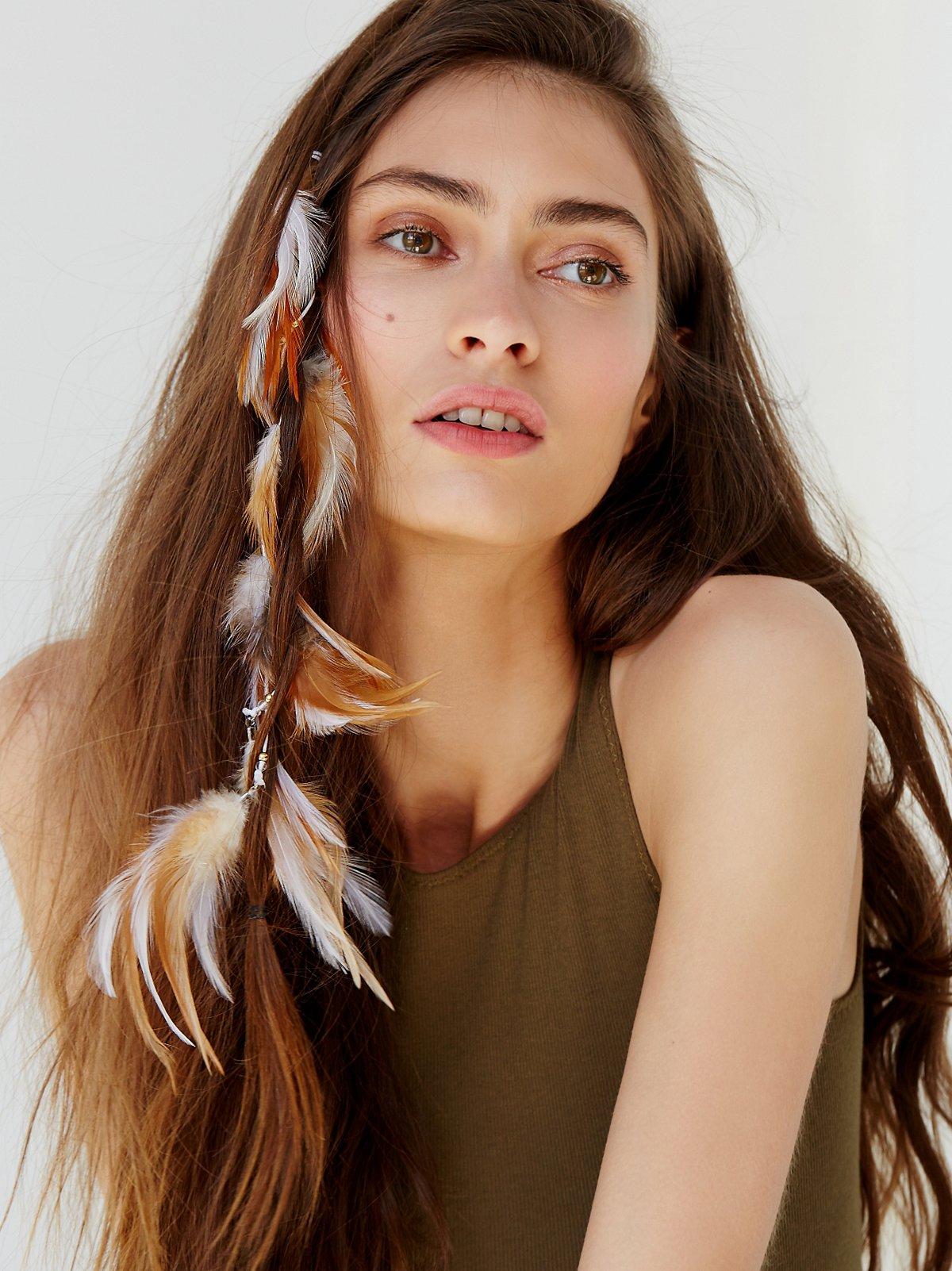 Rosa羽毛发夹