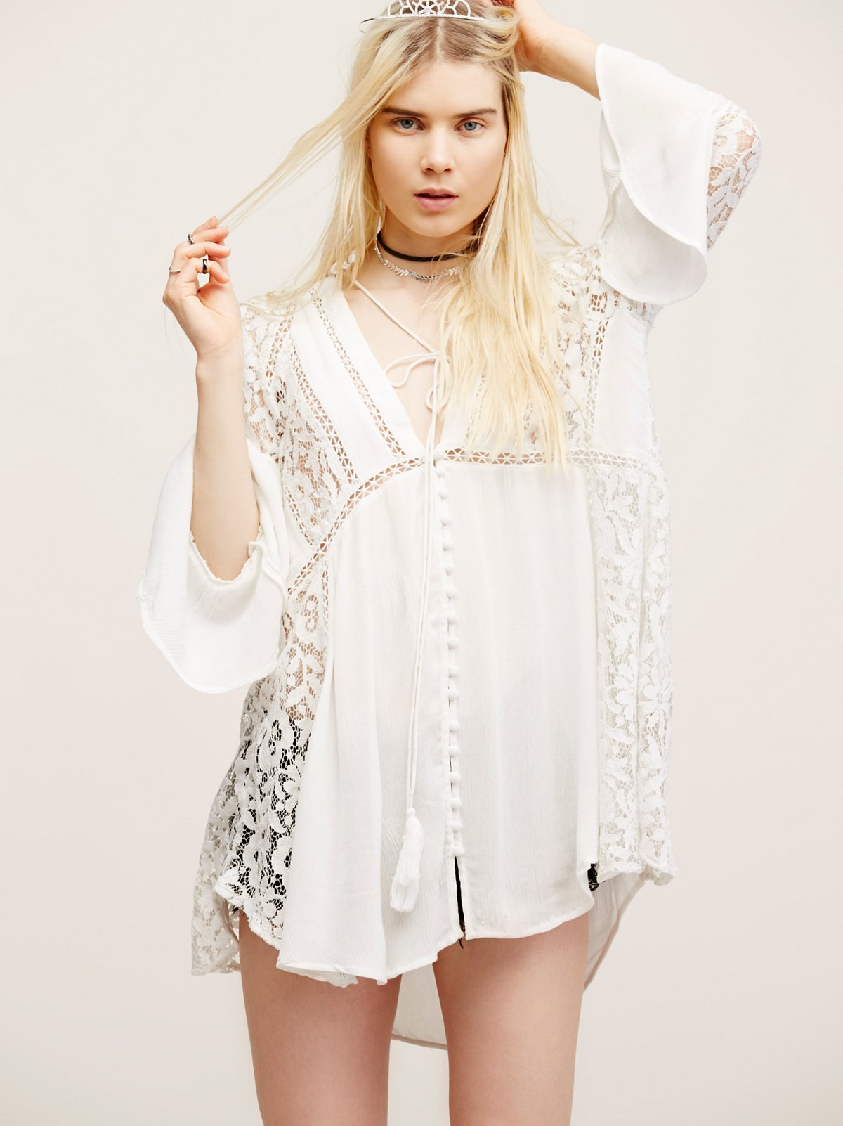 Lovestoned Lace Buttondown Top