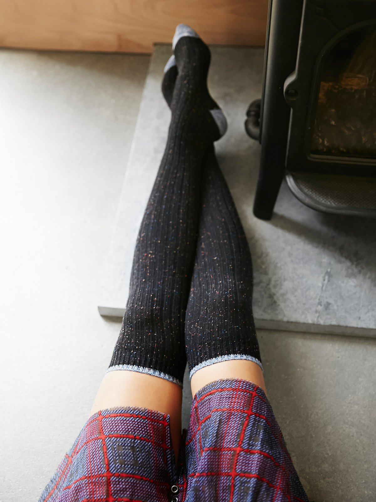 Falling Leaves Over the Knee Sock