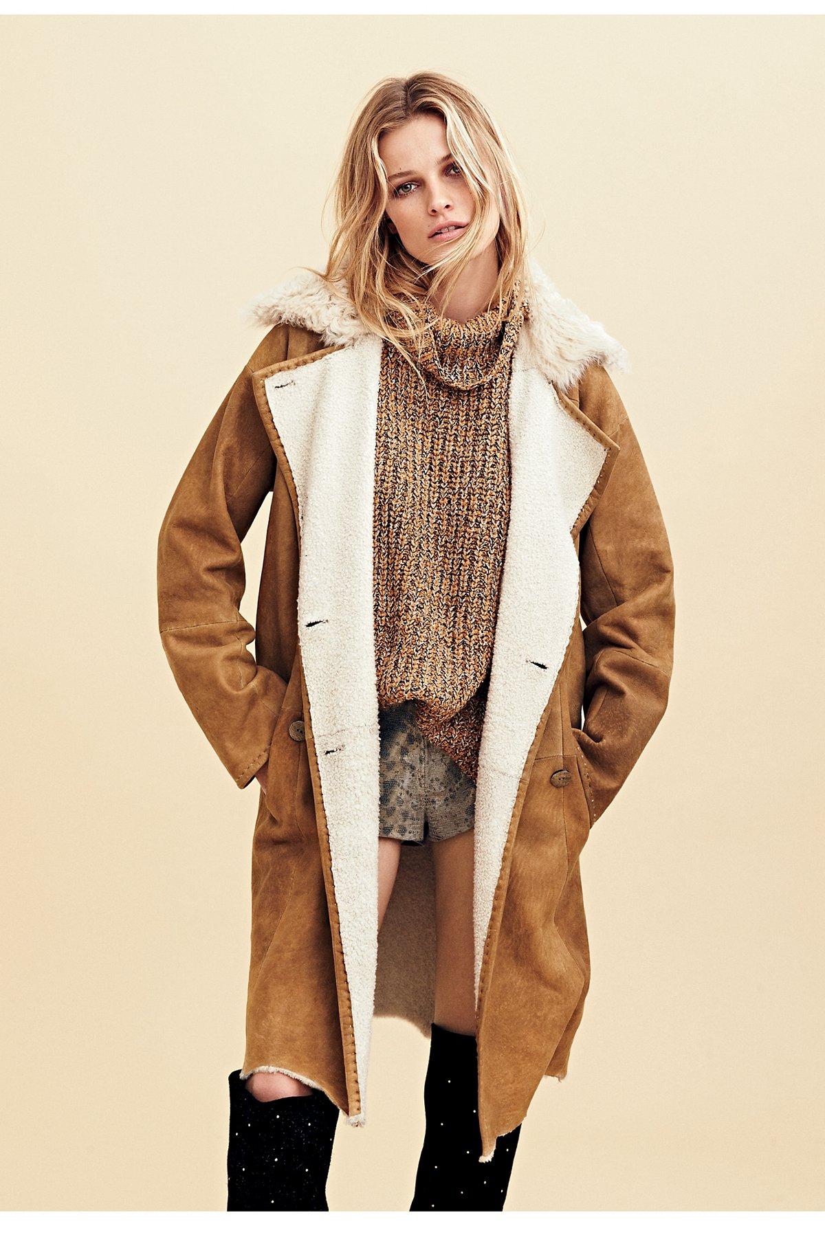 羊羔毛麂皮风衣