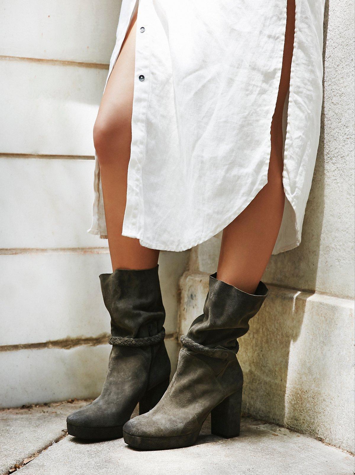 Iris麂皮中筒靴