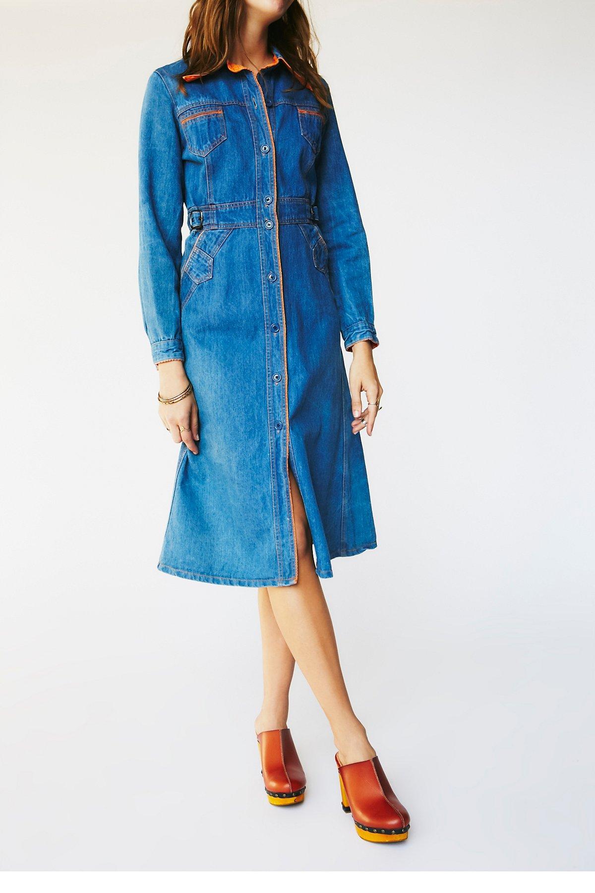 Vintage 1970s Denim Dress