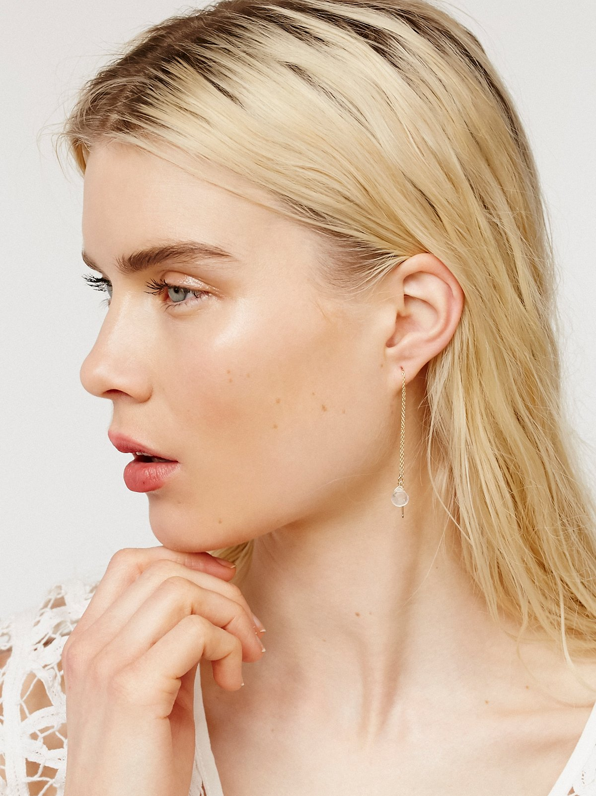 Raw Stone Threader Earring