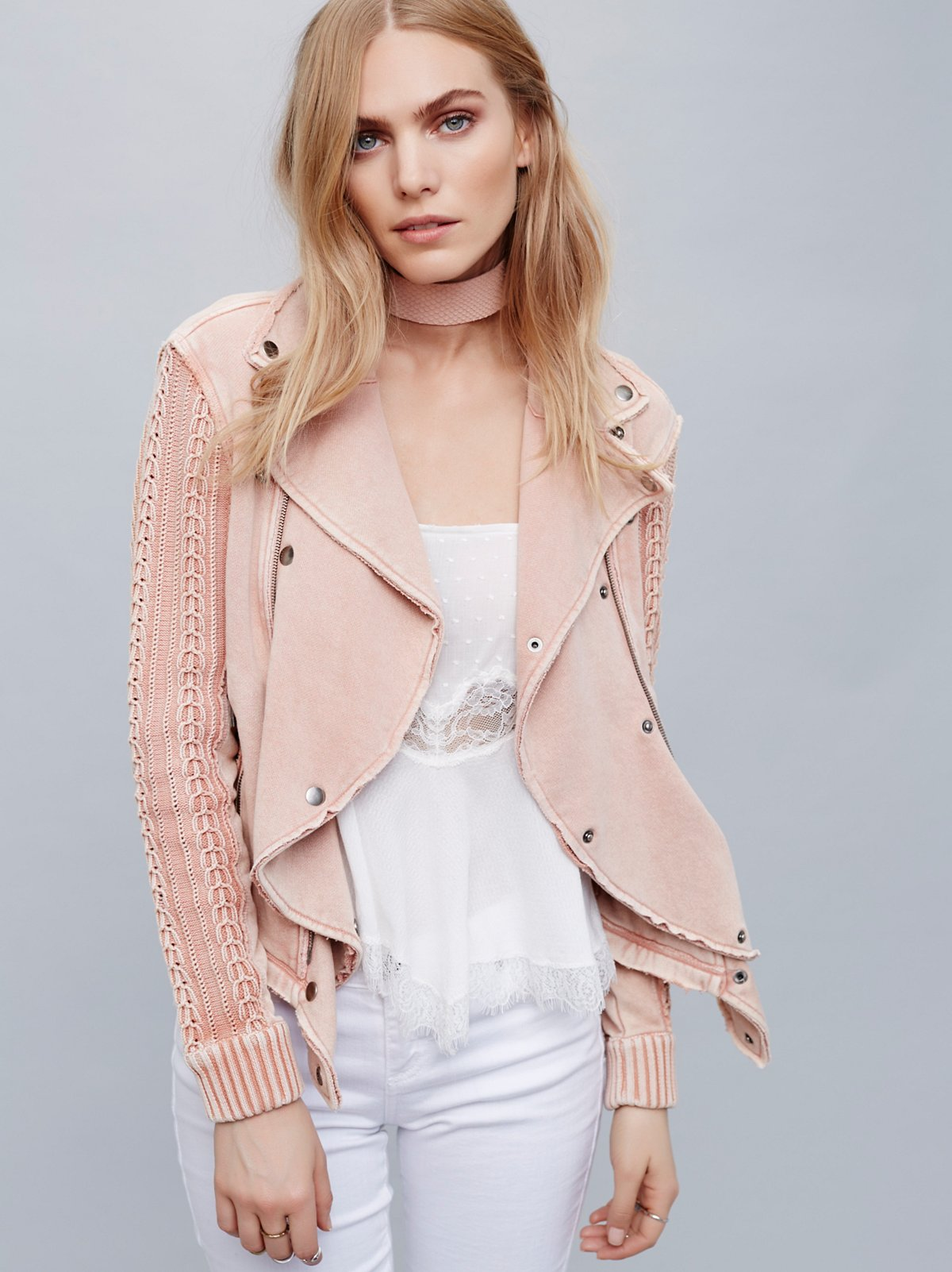 Ruffle Moto Sweater Jacket