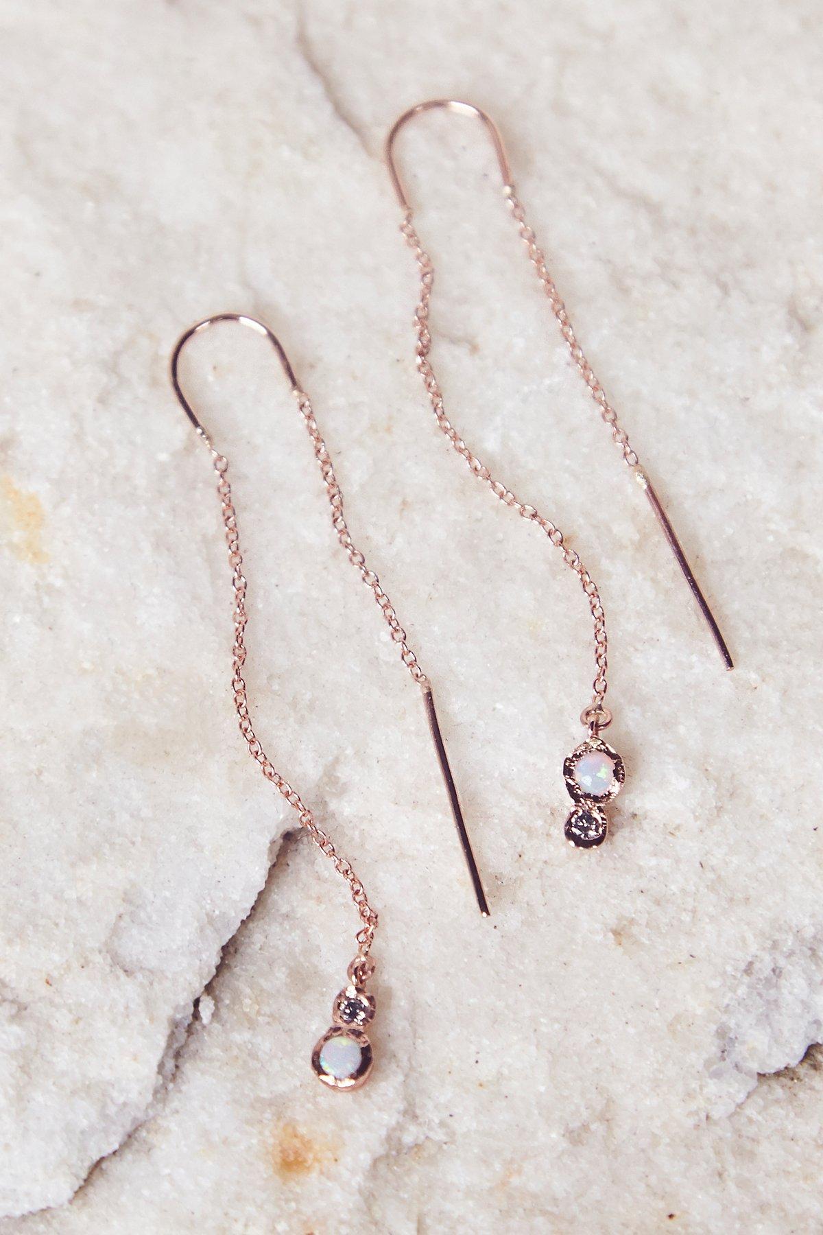 Opal x Diamond Threader Earrings