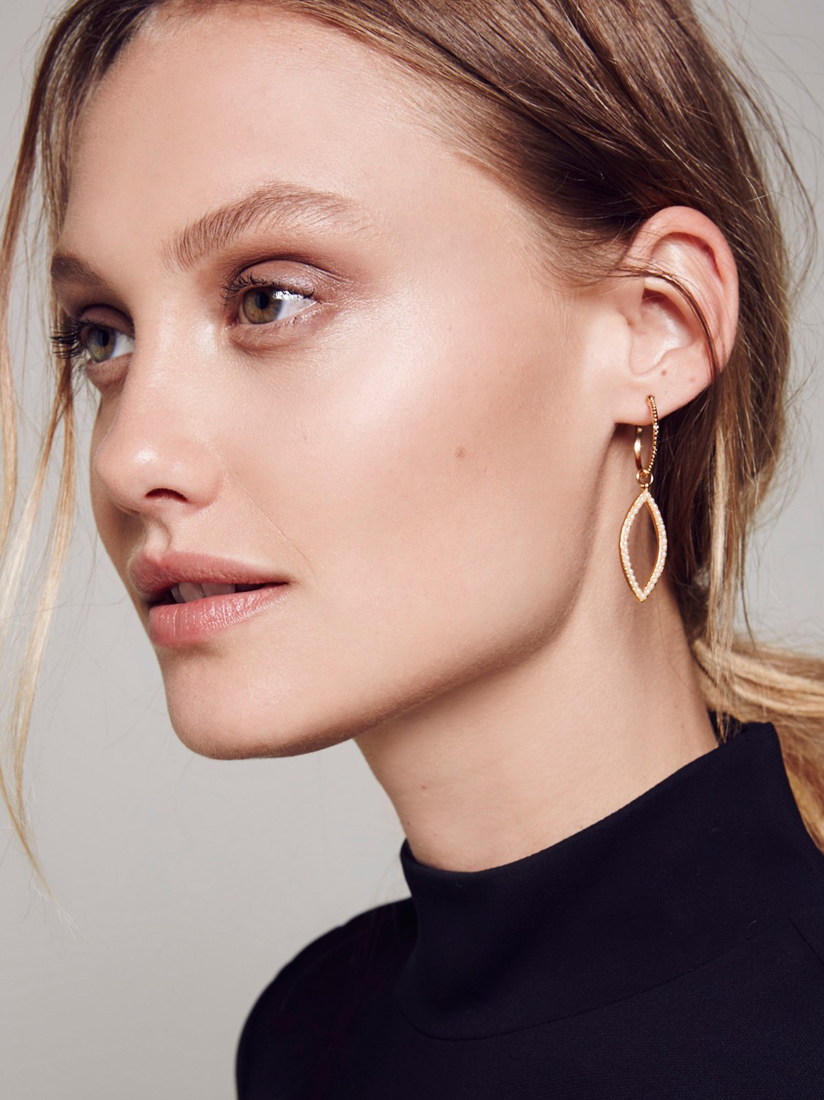 Studded Marquise Hoops