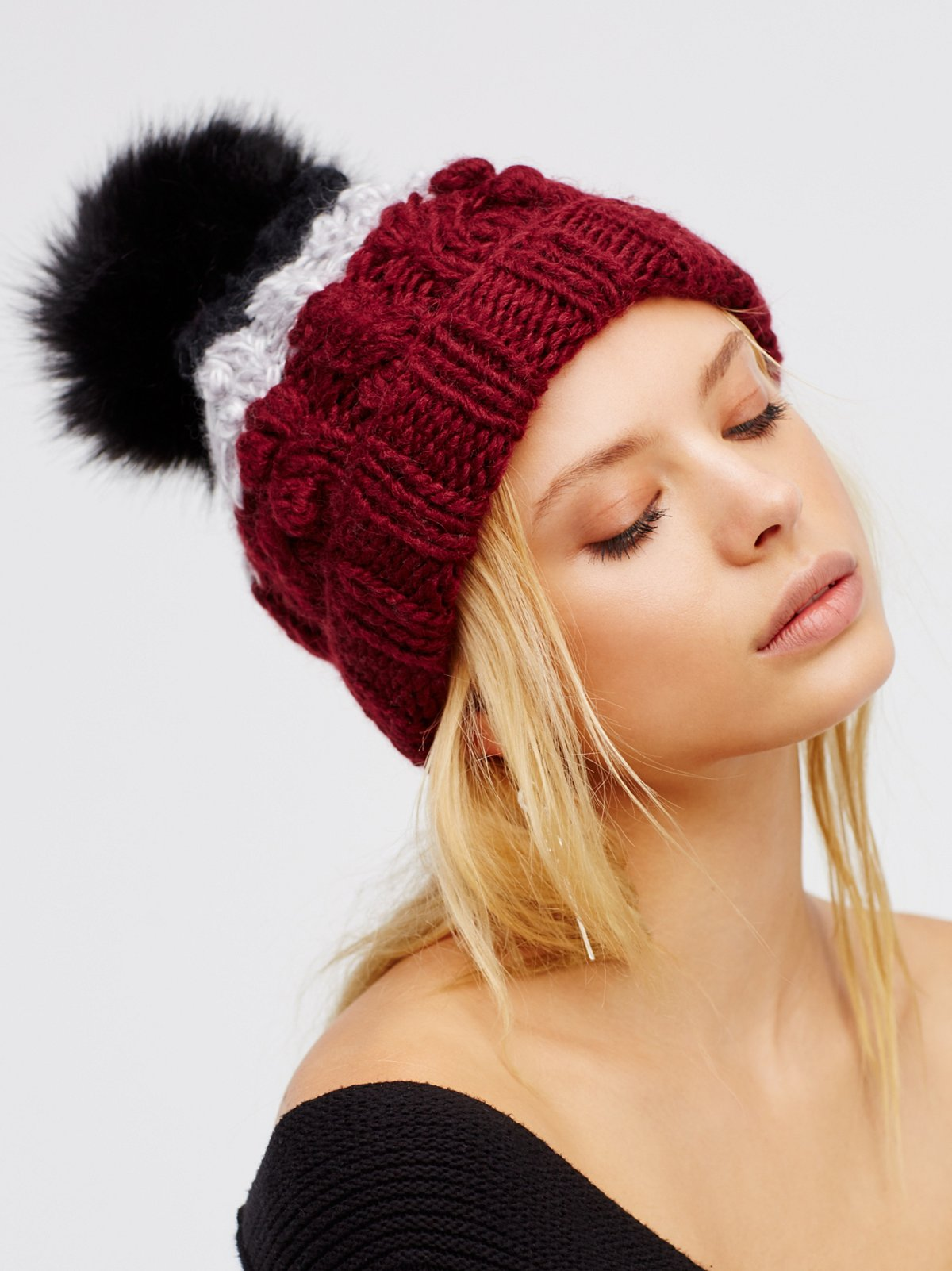 Mile High Stripe Pom Beanie