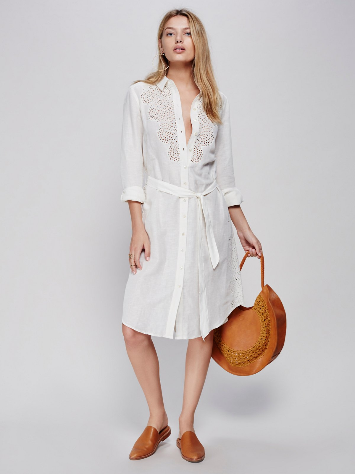 Rory's Cutwork Linen Maxi Buttondown