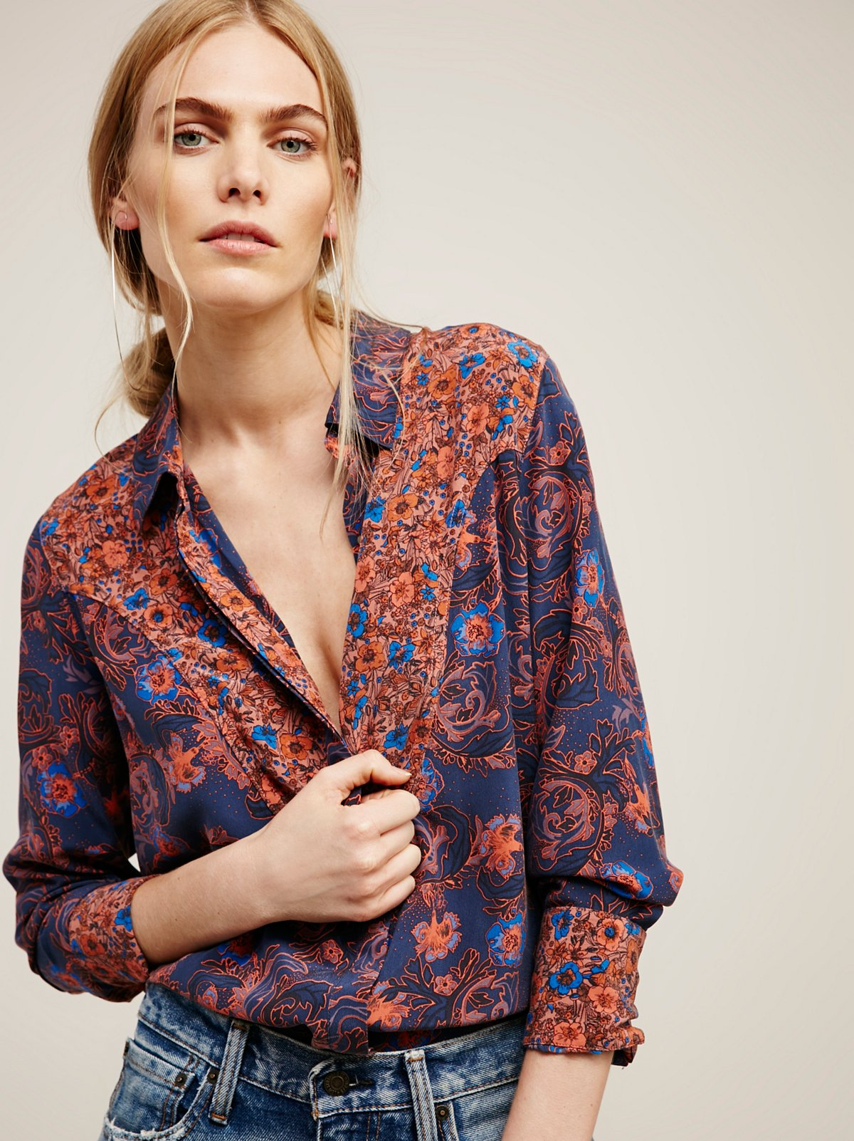 Avery Mix Print Silk Buttondown