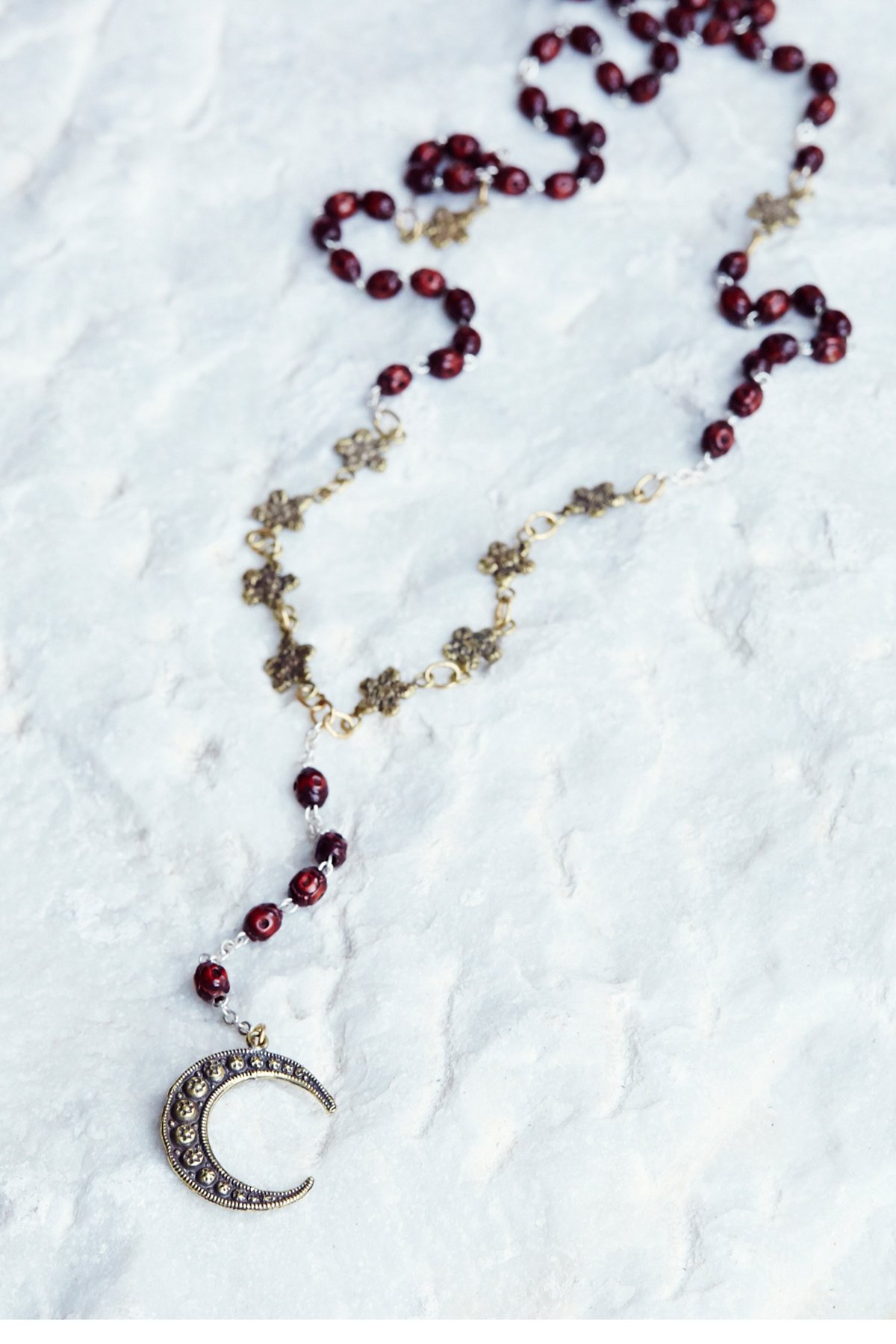Floral Chain Mixed Rosary Necklace