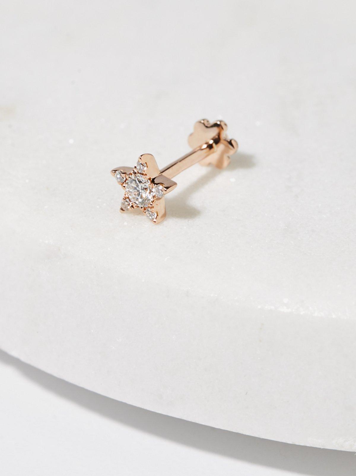 钻石星星穿耳耳钉