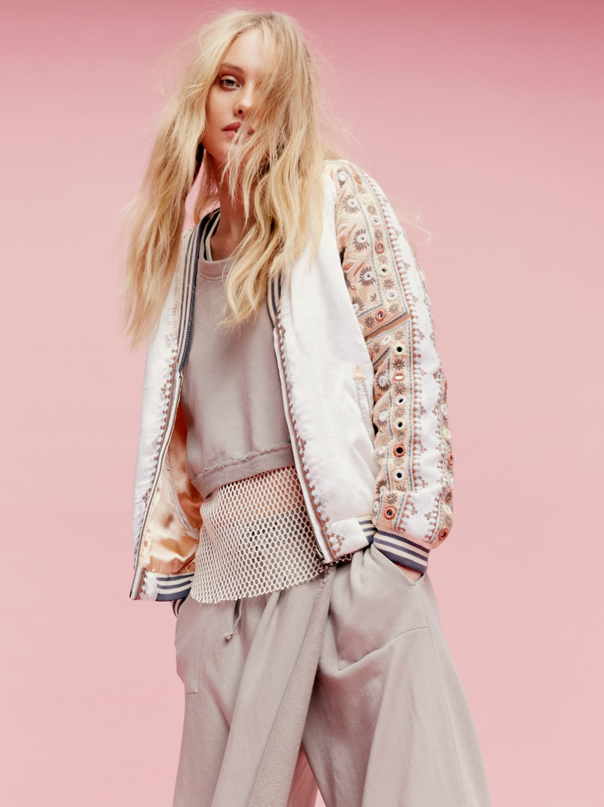 New Romantics Embellished Baseball Jacket
