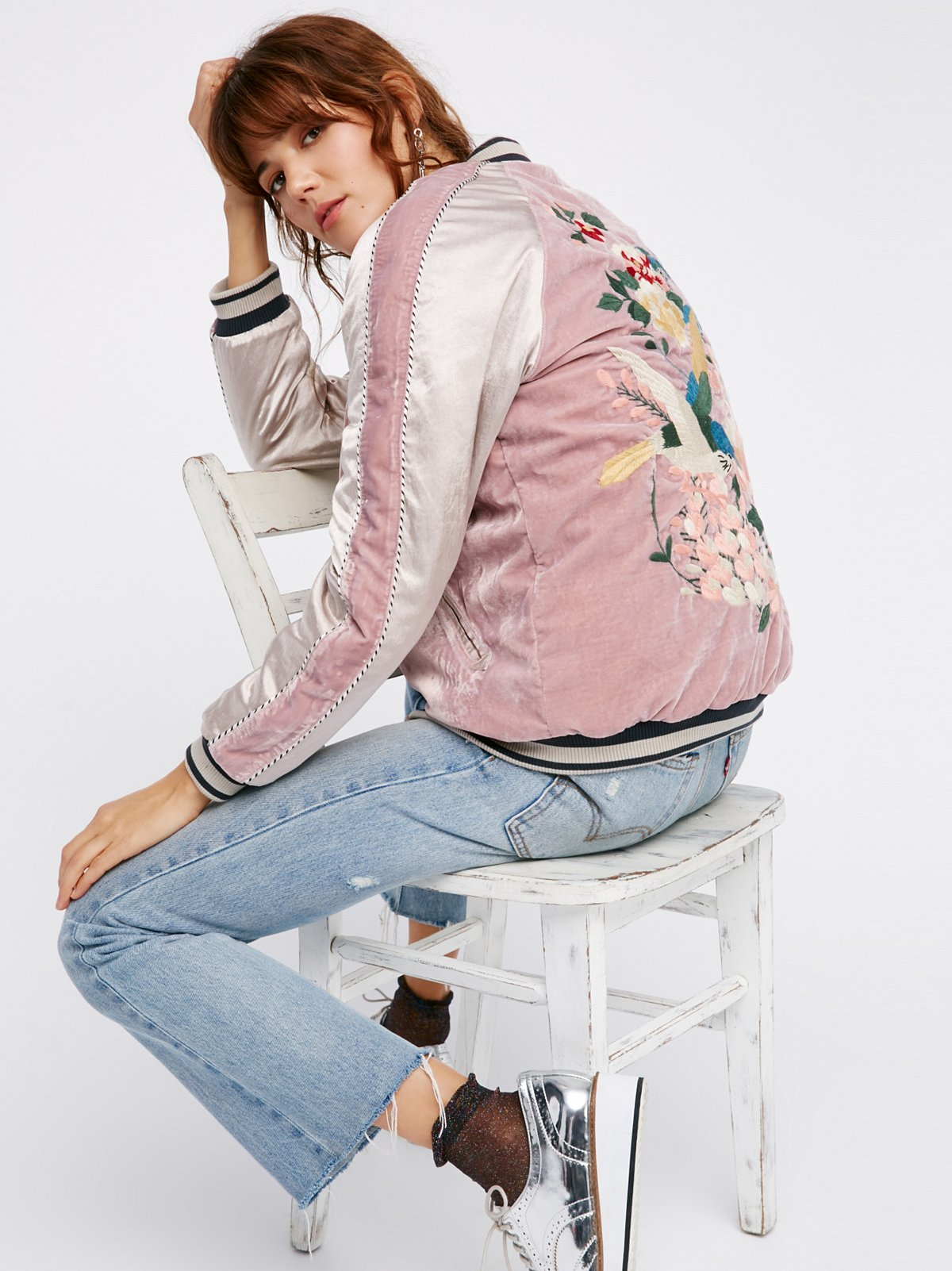 Floral Embroidered Bomber