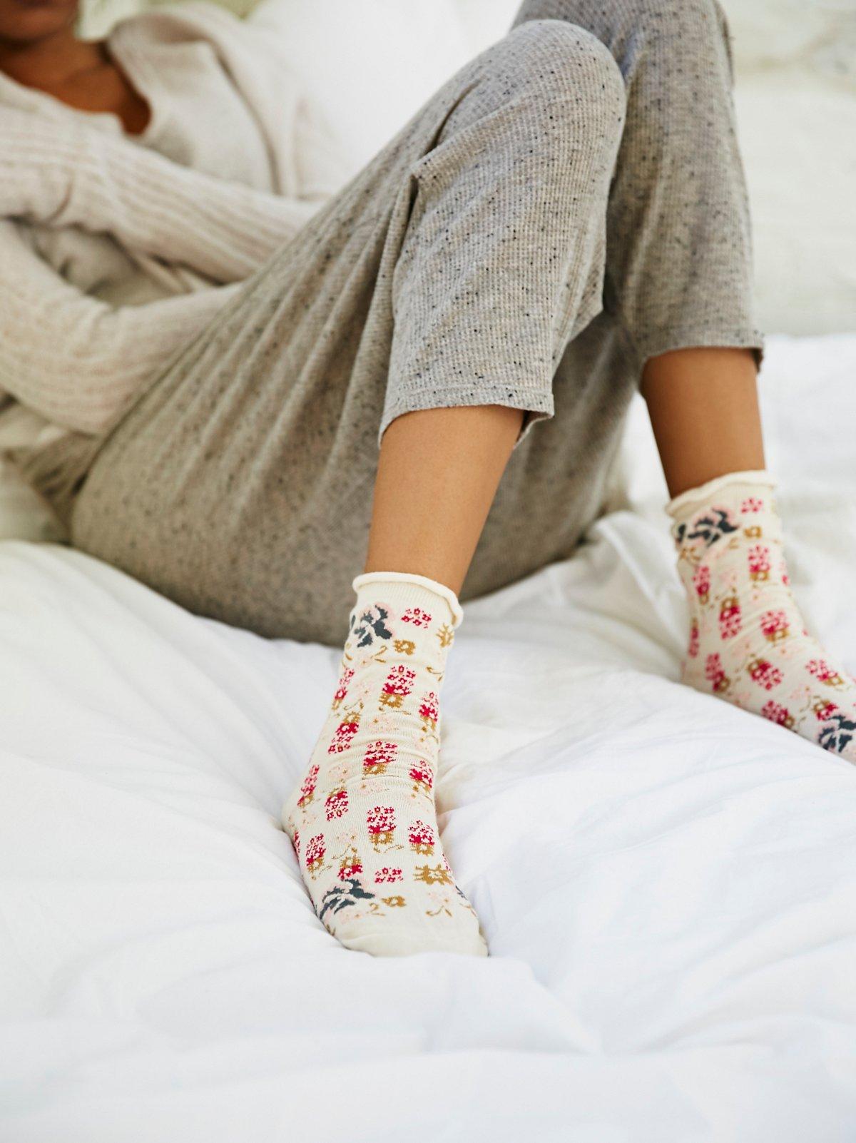 Besos花朵踝袜