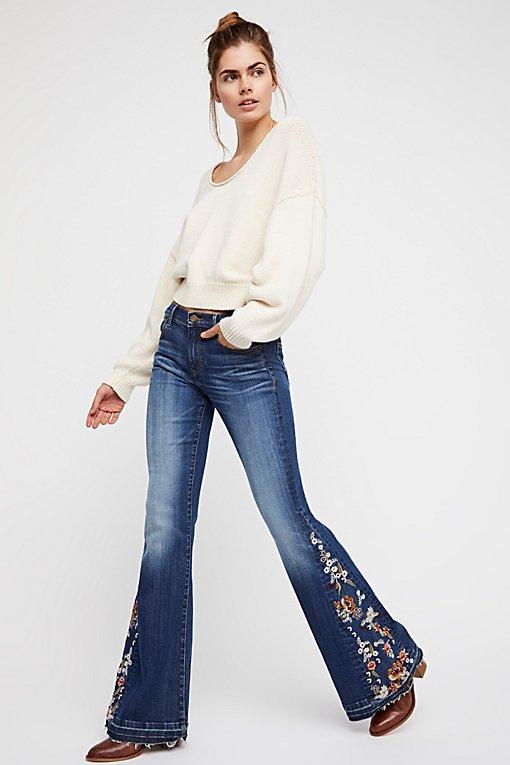 Product Image: Farrah刺绣喇叭牛仔裤