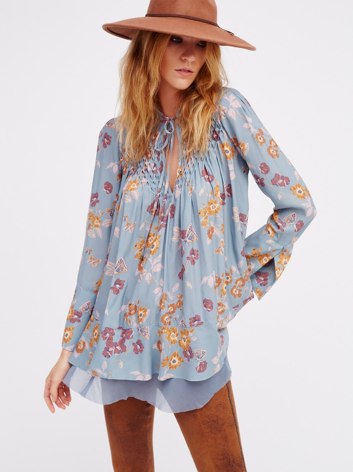 So Fine Printed Smocked Top