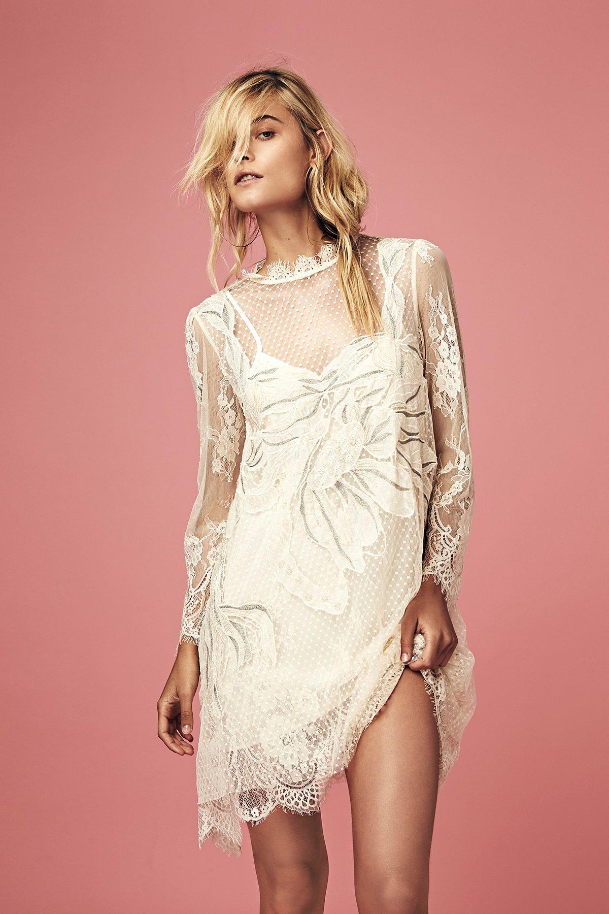 Swan Lace Mini Dress