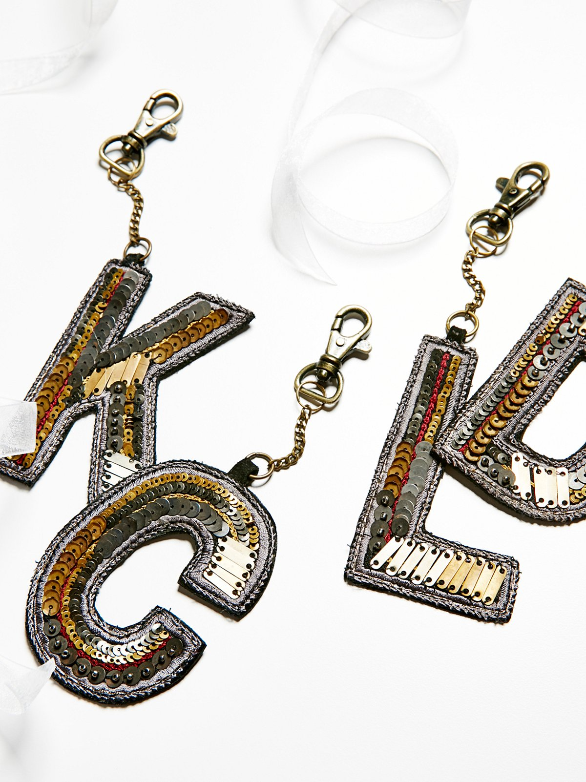 Sequin Letter Bag Charm