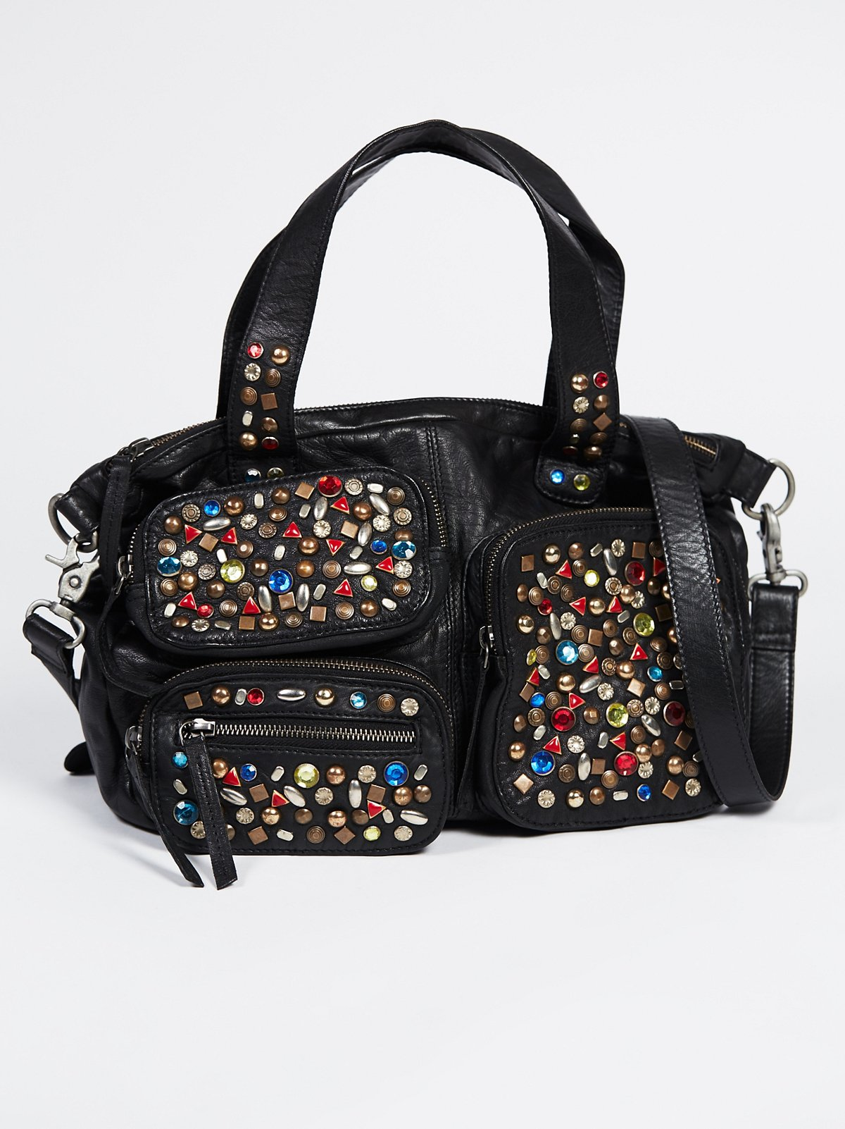 Crystalized Leather Satchel