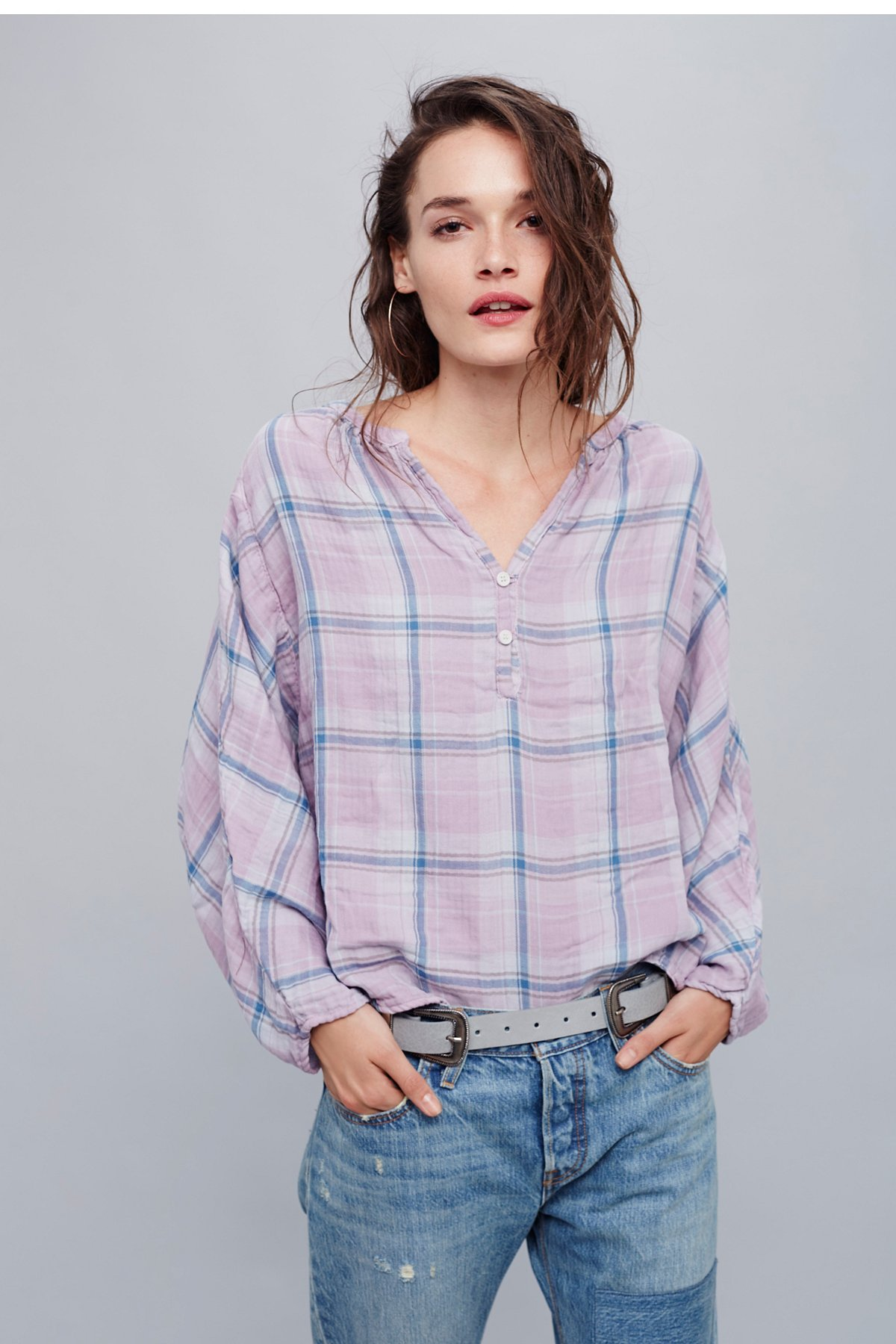 Double Cloth Plaid Swing Top