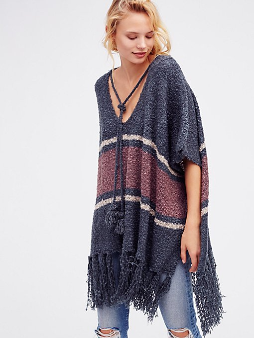 Product Image: Juno Striped Boucle Poncho