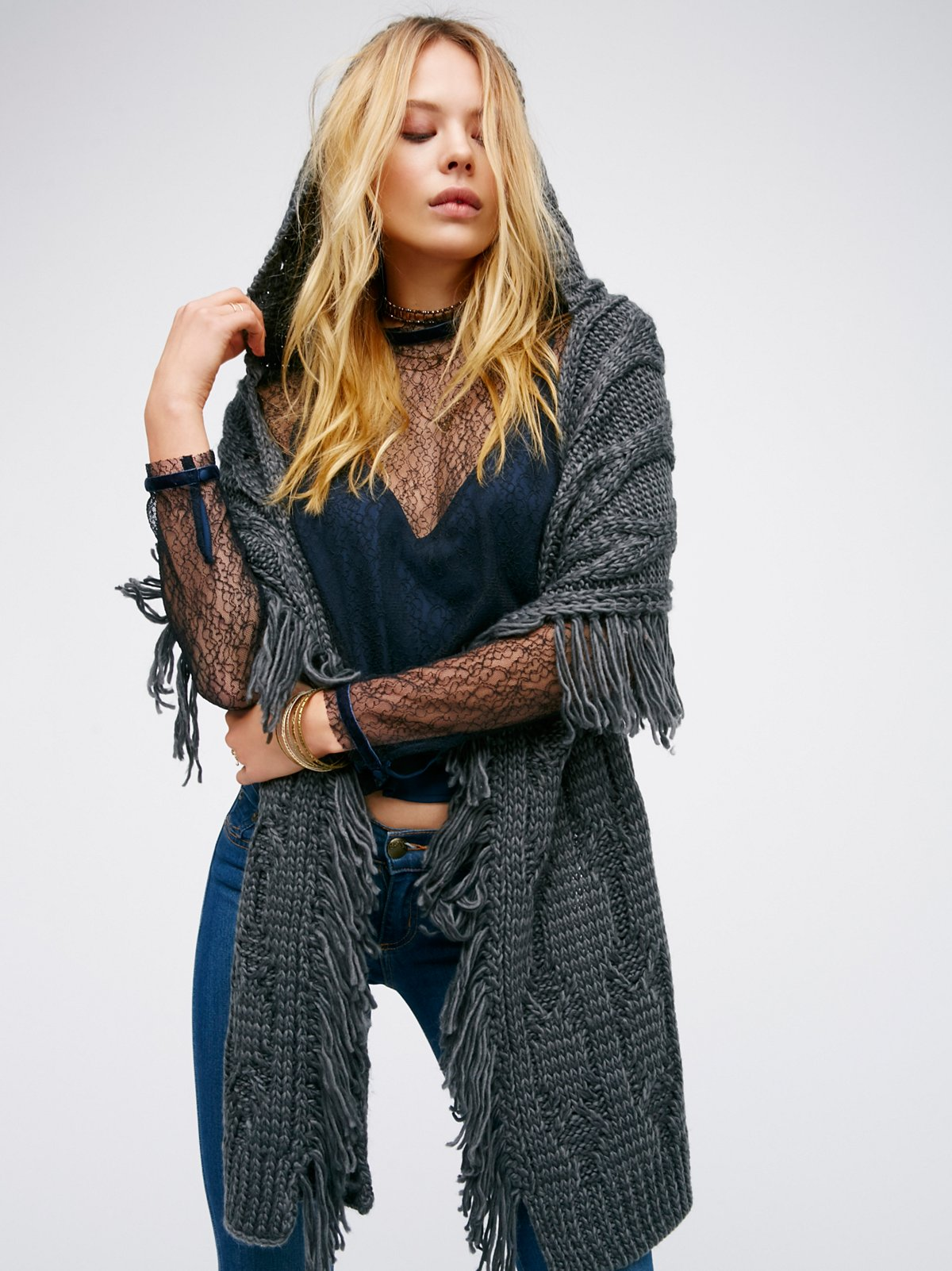 Cable Fringe Hooded Scarf
