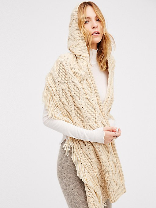 Product Image: Cable Fringe Hooded Scarf