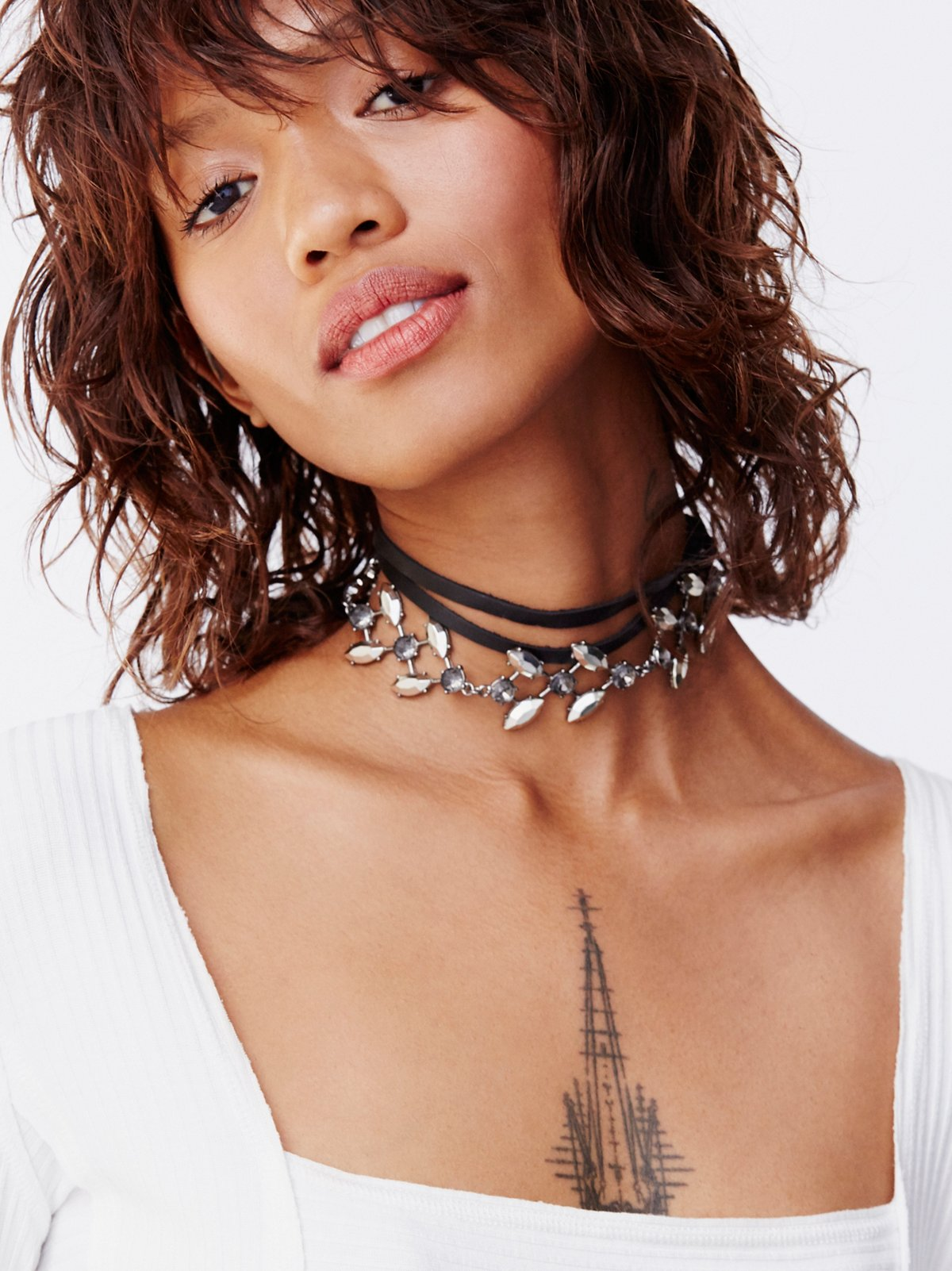 Luna Leather Embellished Wrap Choker