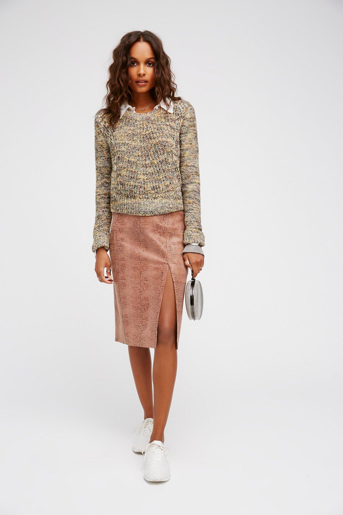 Sara Leather Pencil Skirt