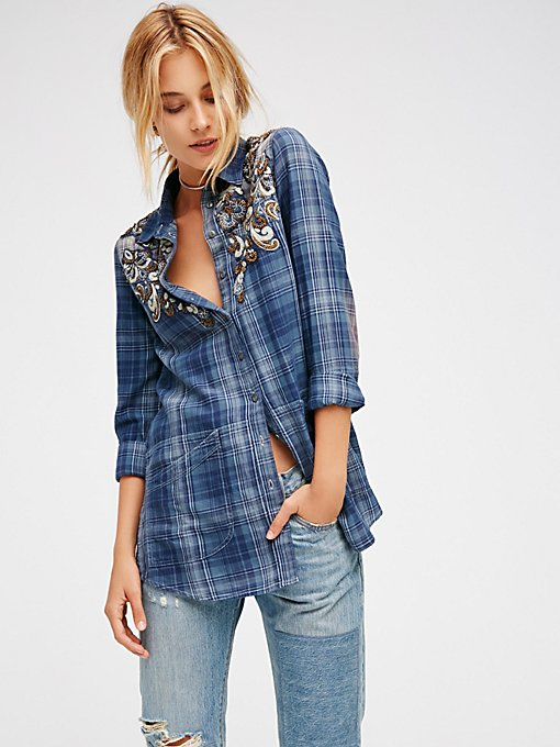 Product Image: Stevie's Embellished Plaid Buttondown