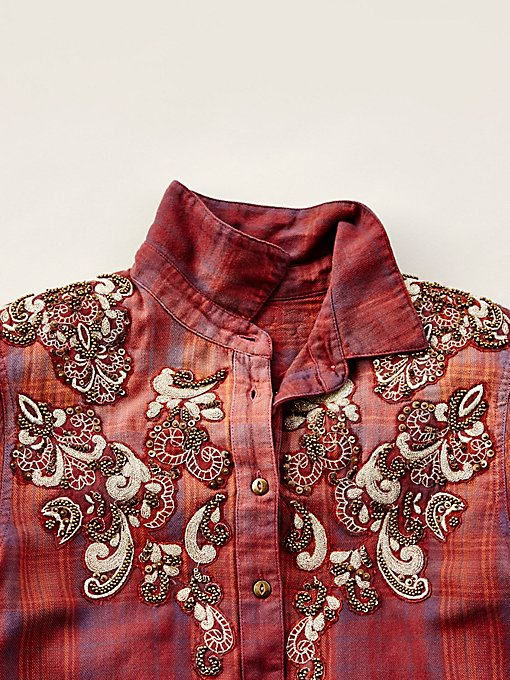 Product Image: Stevie's装饰格子系扣衬衫