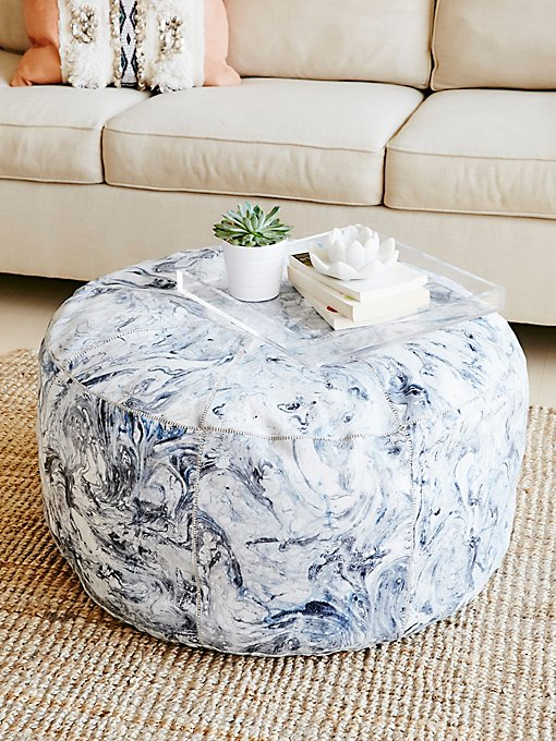 Product Image: Marbled Leather Pouf