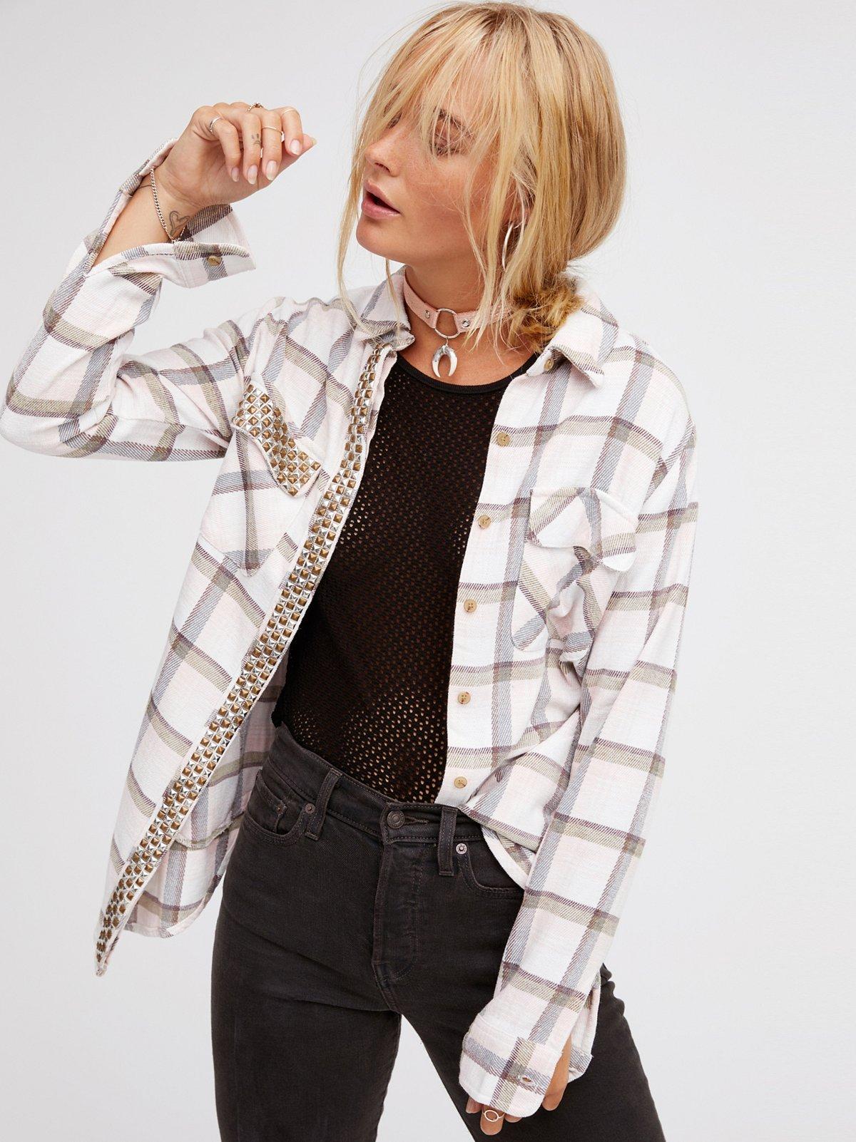 Erin's铆钉格子衬衫