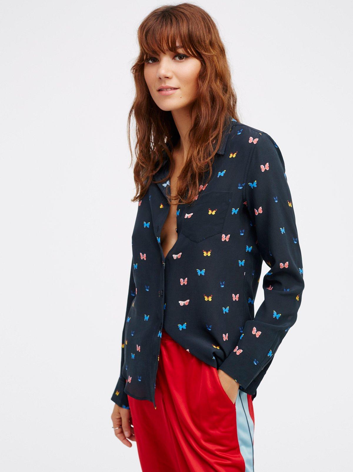 蝴蝶丝绸罩衫
