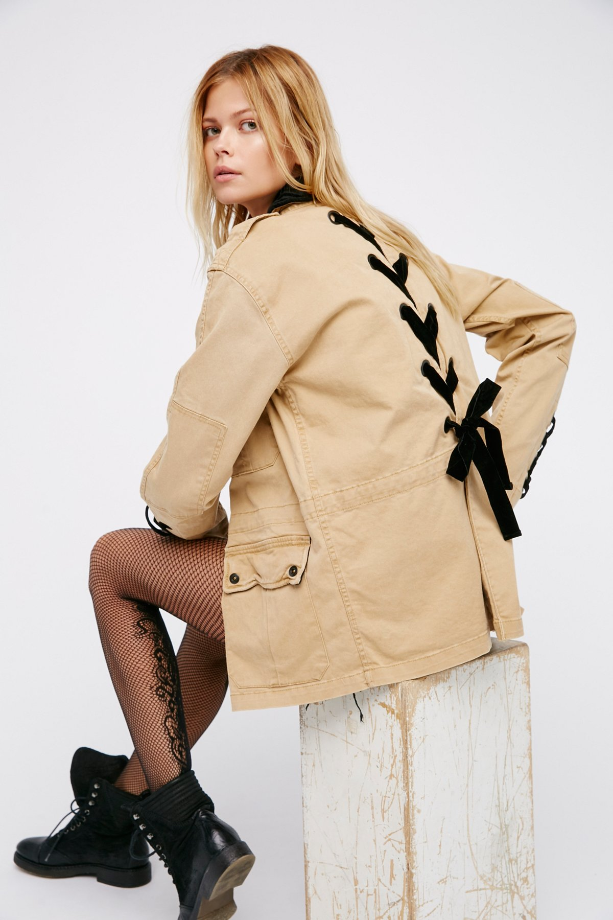 Velvet Lace Up Army Jacket