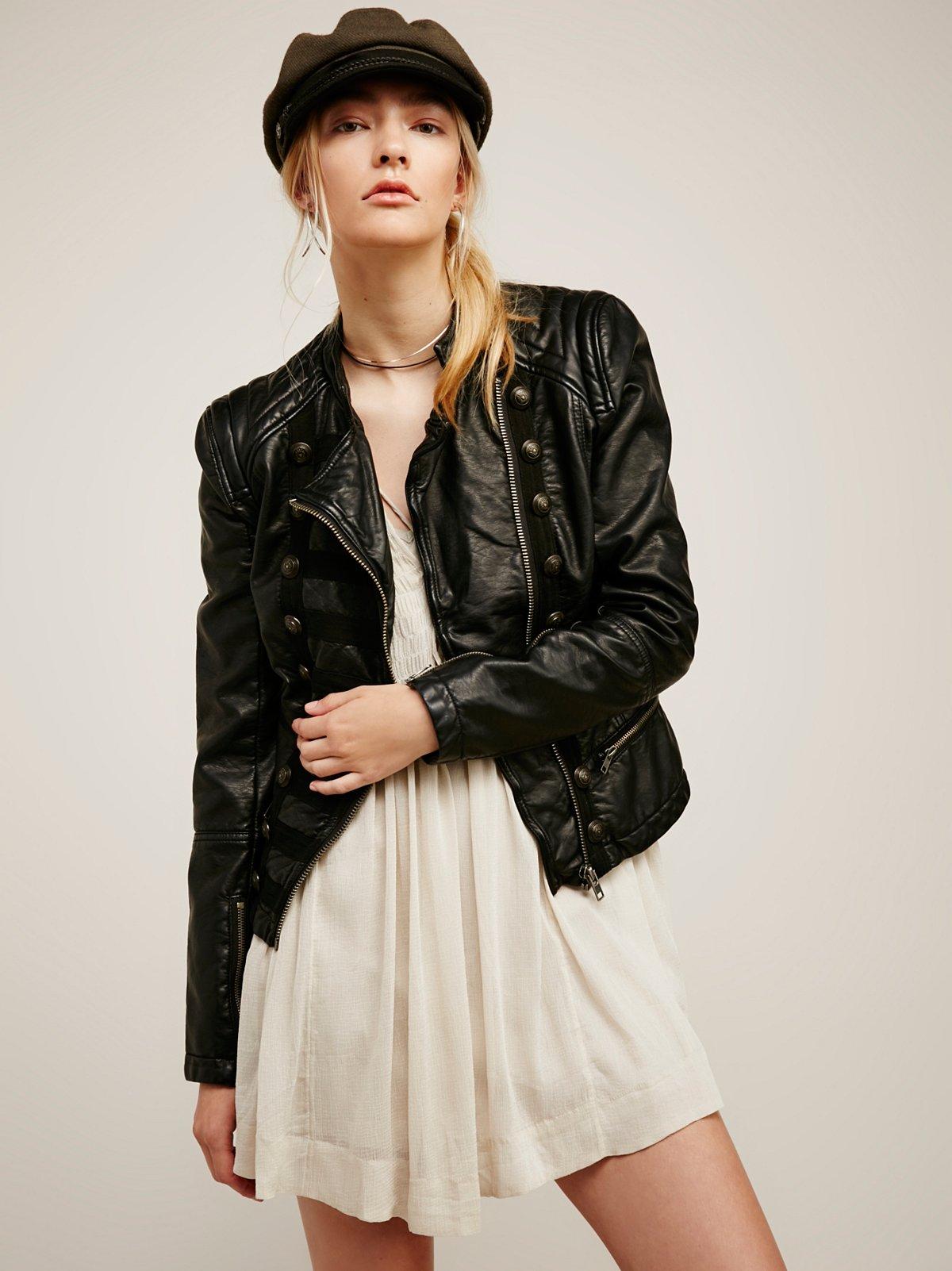 Vegan Leather Band Jacket